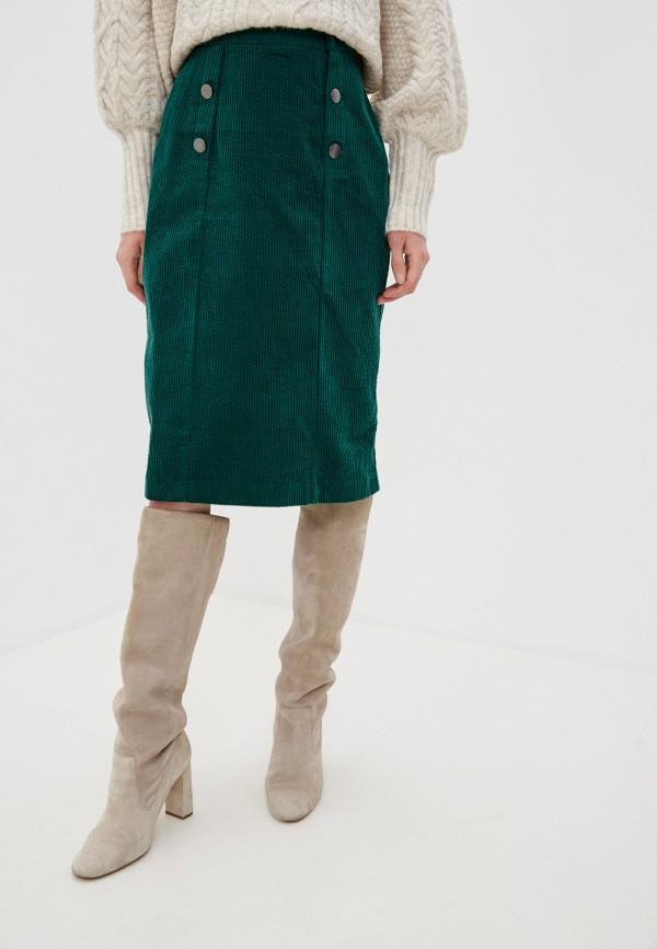 женская прямые юбка naf naf, зеленая