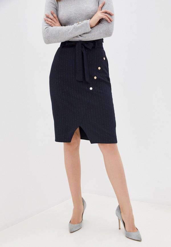 женская прямые юбка naf naf, синяя