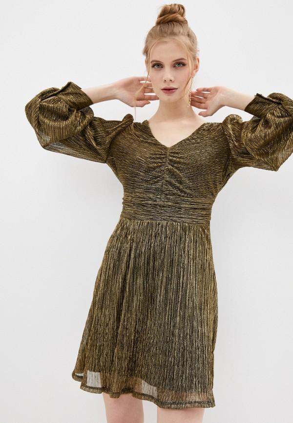 женское вечерние платье naf naf, золотое