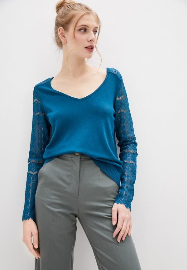 женский пуловер naf naf, бирюзовый