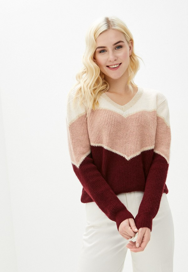 женский пуловер naf naf, бордовый
