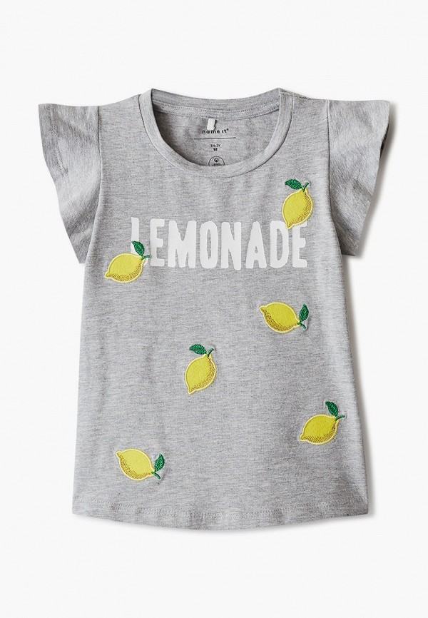 футболка с коротким рукавом name it для девочки, серая