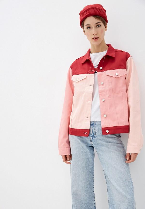 женская джинсовые куртка na-kd, розовая