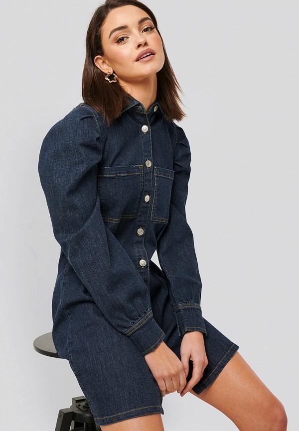 женское джинсовые платье na-kd, синее