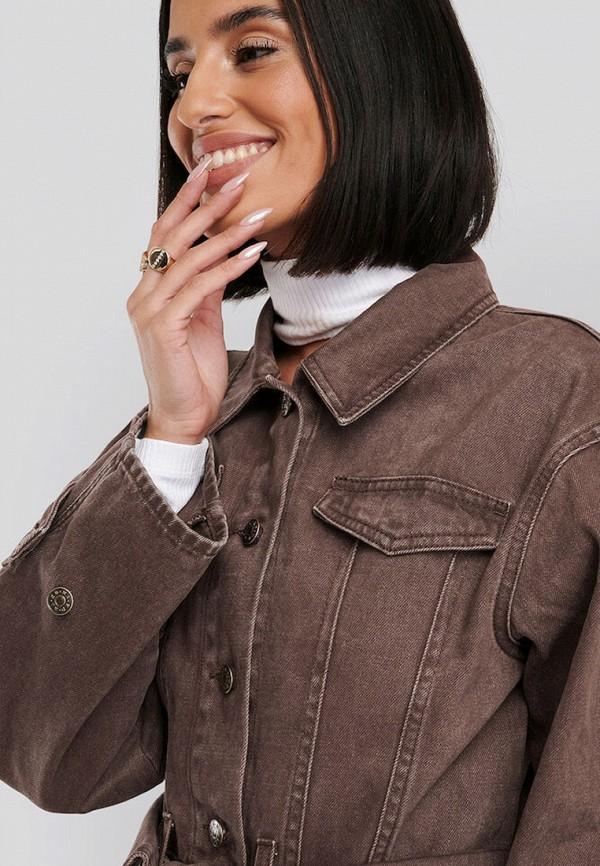 женская джинсовые куртка na-kd, коричневая