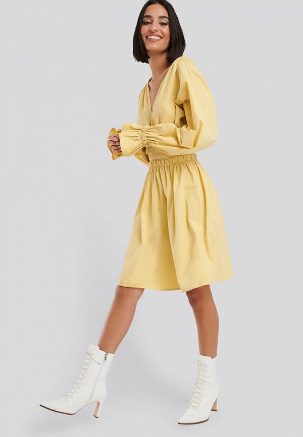 женское повседневные платье na-kd, желтое