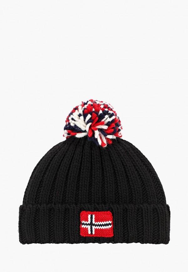 шапка napapijri для мальчика, черная