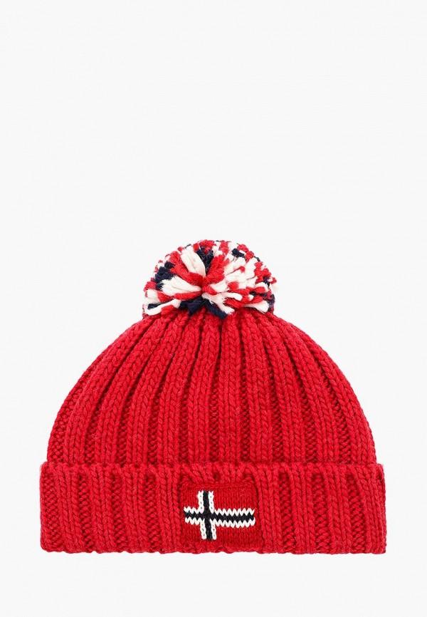 шапка napapijri для мальчика, красная