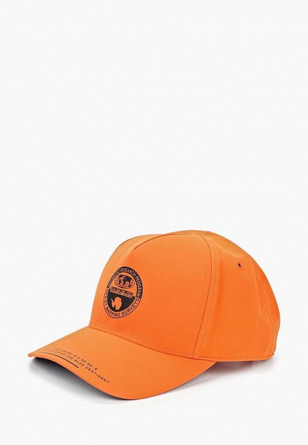 женская бейсболка napapijri, оранжевая