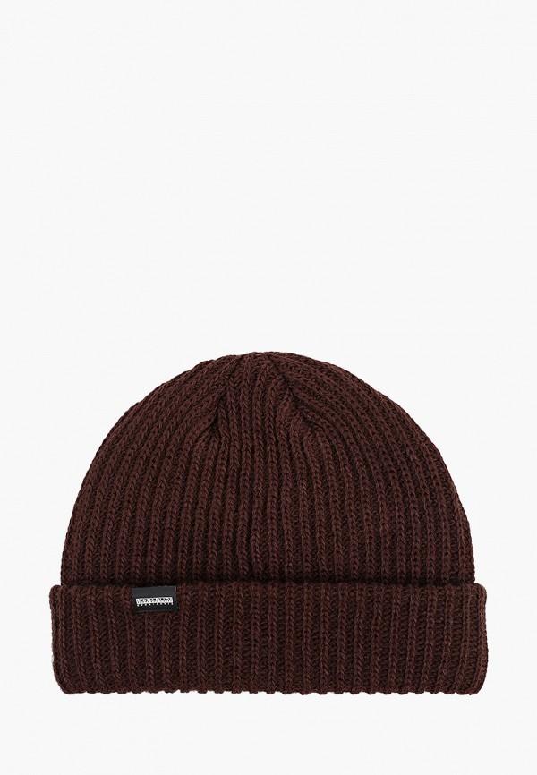 женская шапка napapijri, коричневая