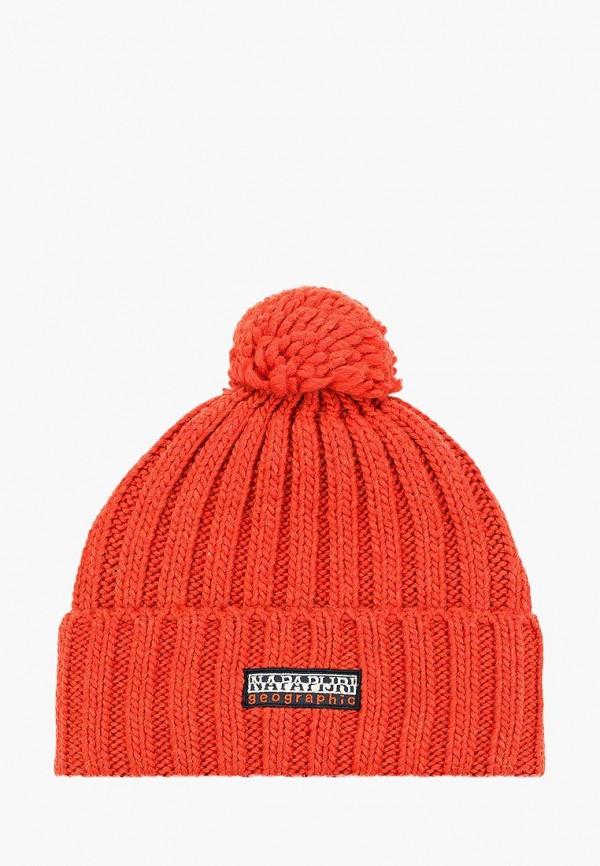 женская шапка napapijri, оранжевая