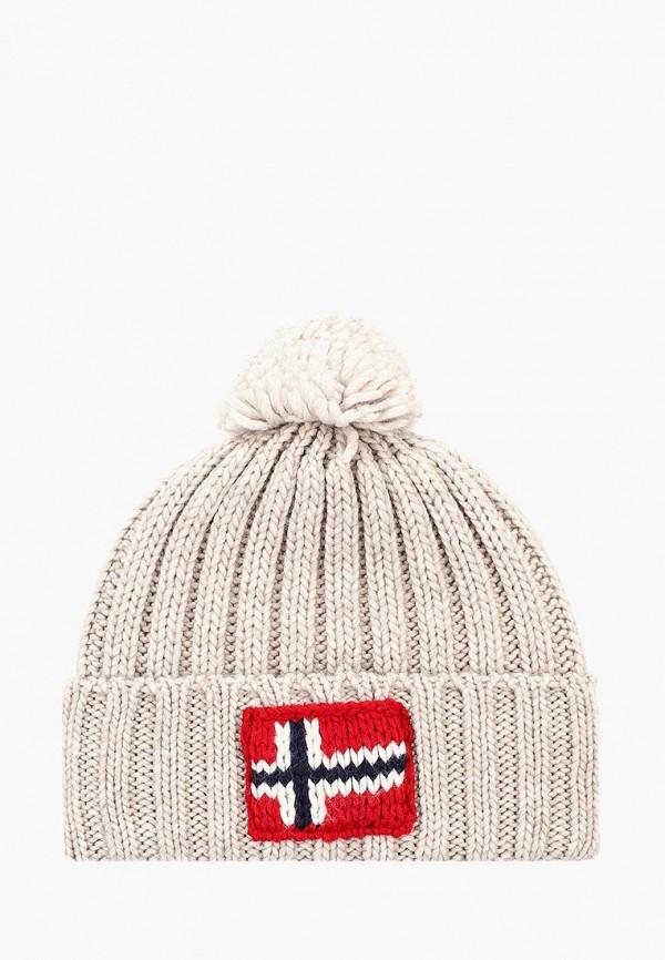 женская шапка napapijri, бежевая