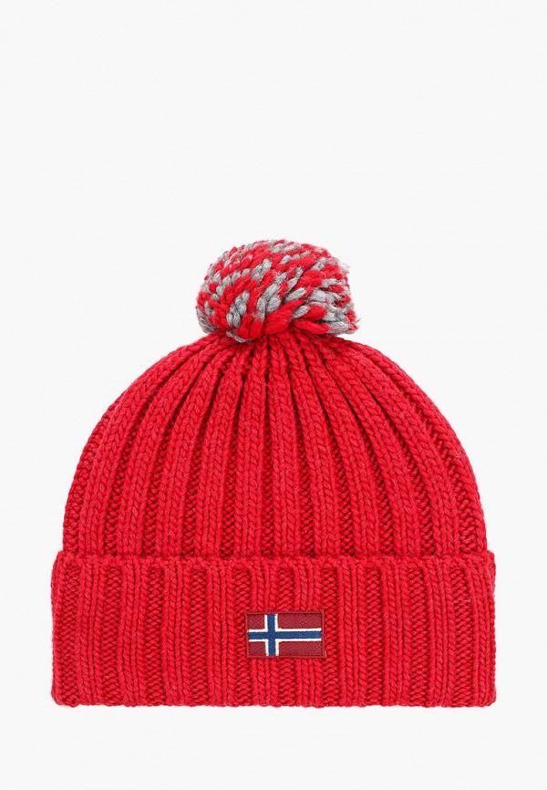 женская шапка napapijri, красная