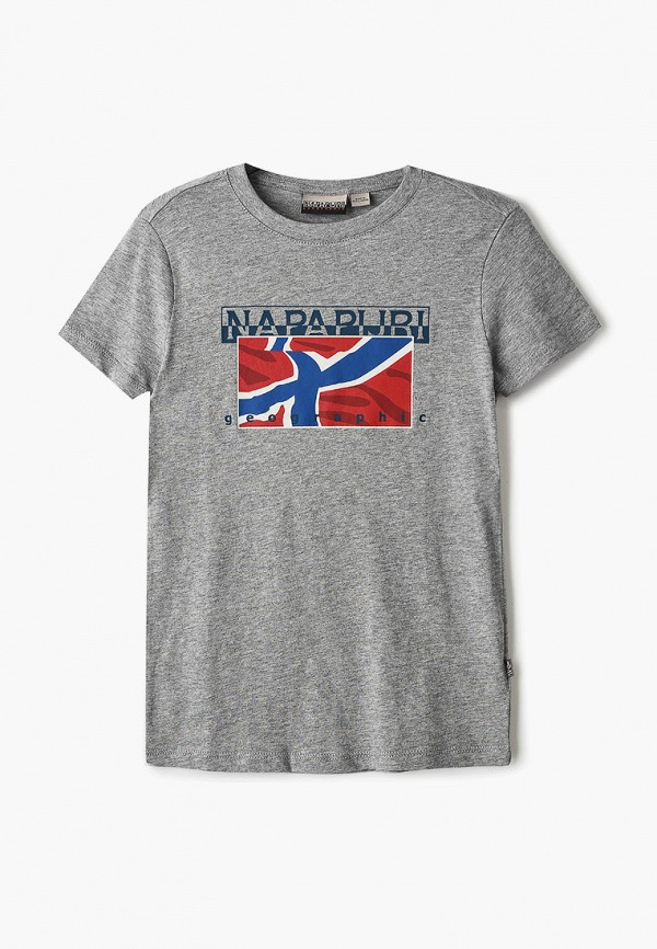 футболка с коротким рукавом napapijri для мальчика, серебряная