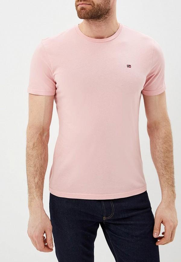 мужская футболка с коротким рукавом napapijri, розовая