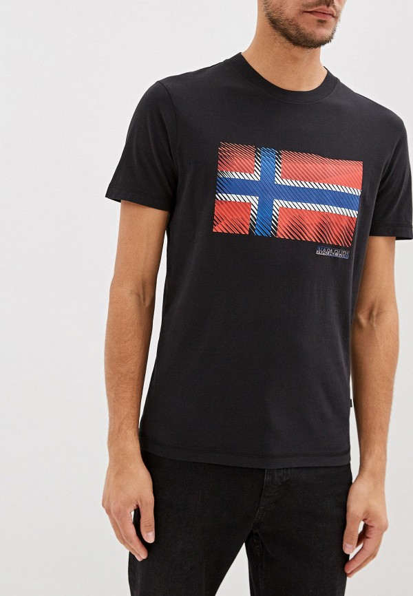 мужская футболка с коротким рукавом napapijri, черная