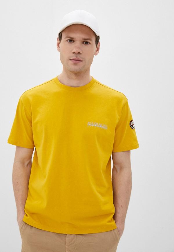 мужская футболка с коротким рукавом napapijri, желтая