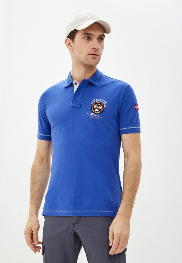 мужское поло с коротким рукавом napapijri, синее