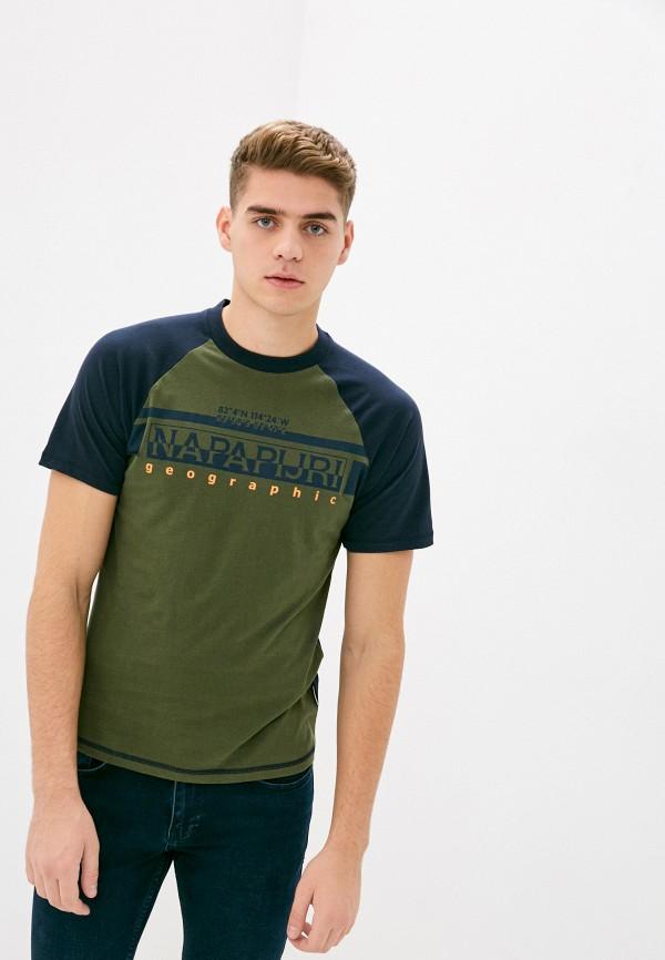 мужская футболка с коротким рукавом napapijri, хаки