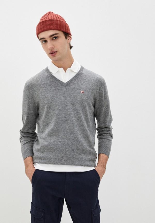 мужской пуловер napapijri, серый
