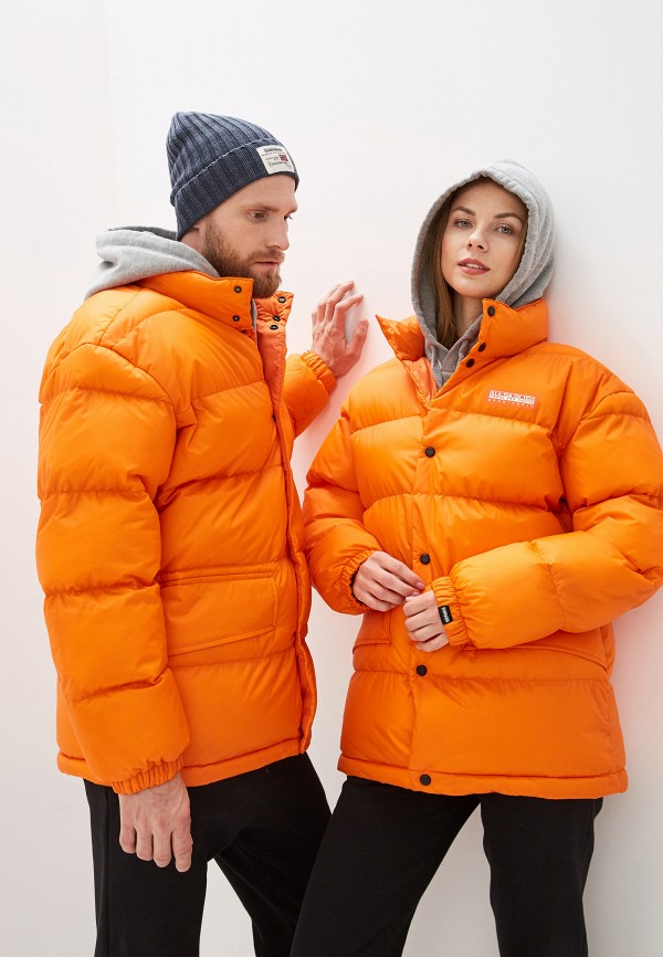женская куртка napapijri, оранжевая