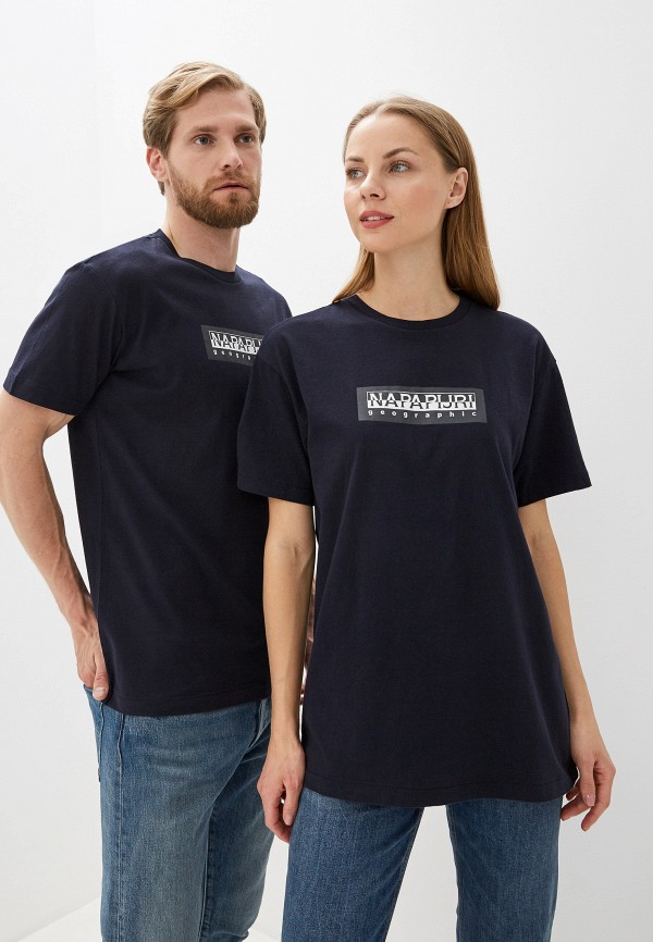 Фото 4 - мужскую футболку Napapijri синего цвета