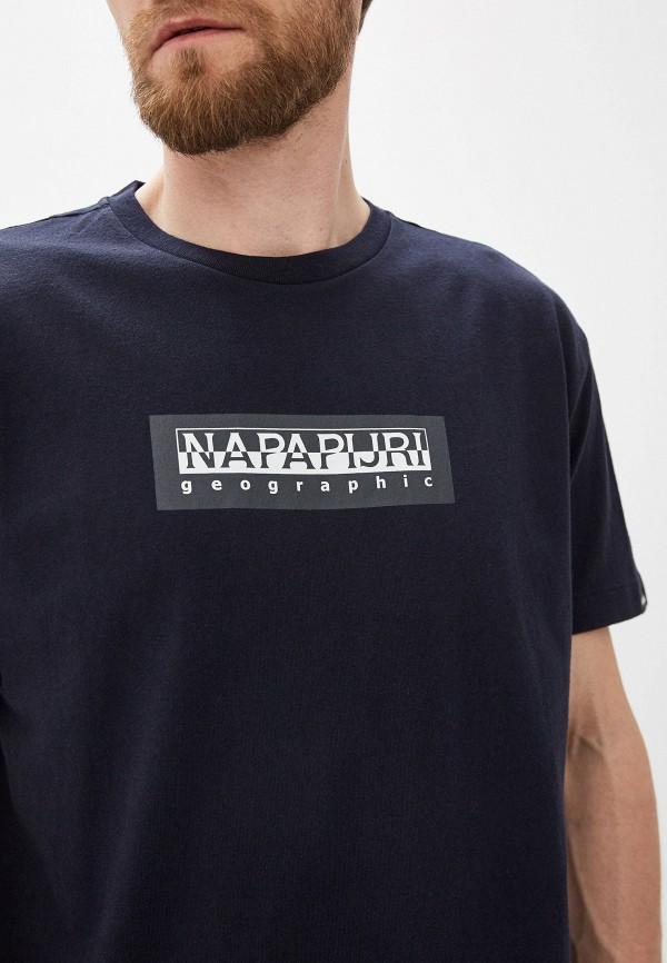 Фото 7 - мужскую футболку Napapijri синего цвета