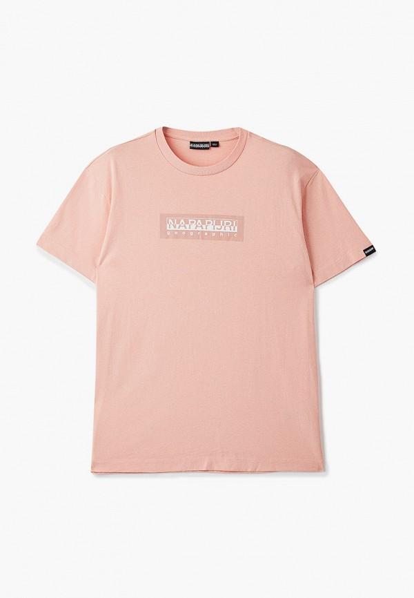 женская футболка с коротким рукавом napapijri, розовая