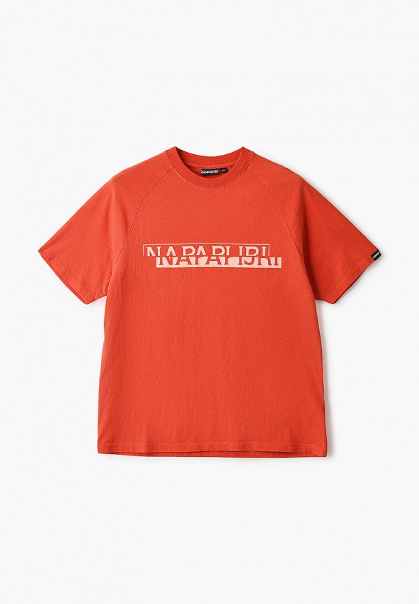 женская футболка napapijri, оранжевая