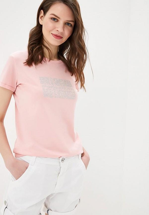 женская футболка napapijri, розовая