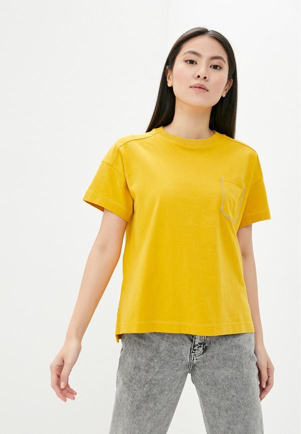 женская футболка napapijri, желтая