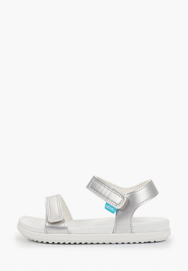 сандалии native для девочки, серебряные