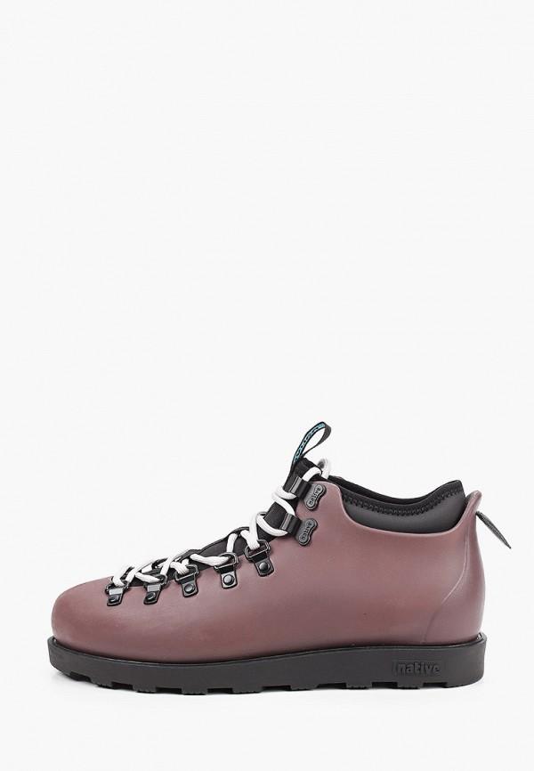 женские низкие ботинки native, бордовые
