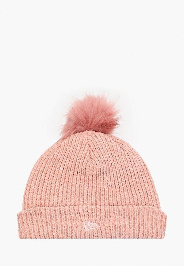 женская шапка new era, розовая