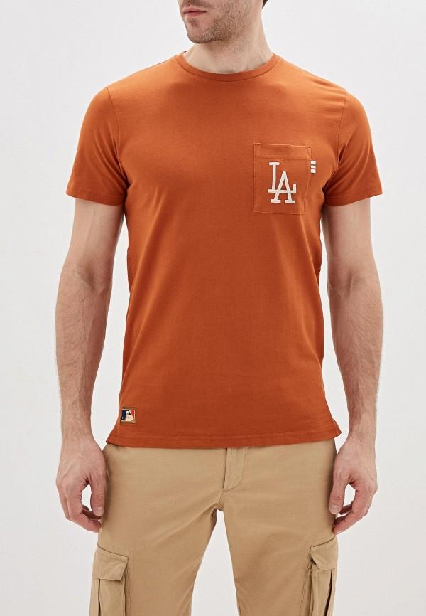 мужская спортивные футболка new era, оранжевая