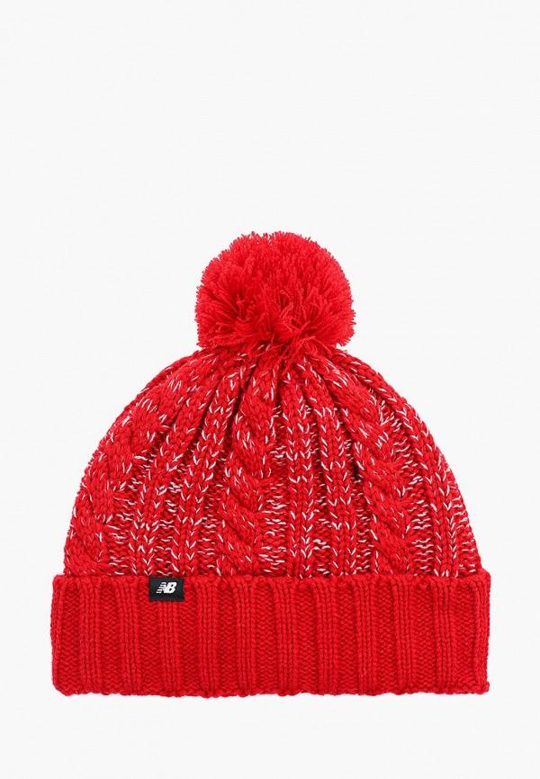 женская шапка new balance, красная