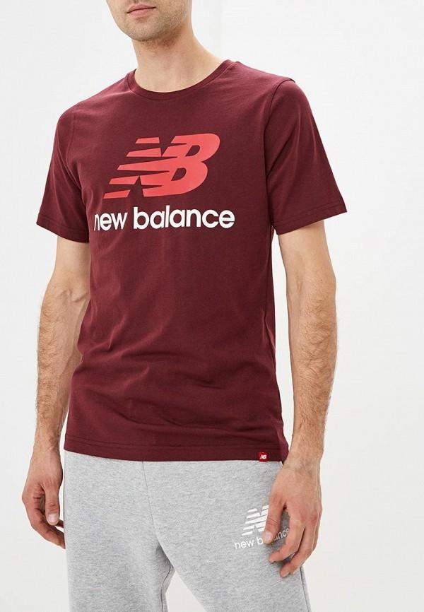 Купить Футболка New Balance, ESSENTIALS STACKED LOGO Tee, ne007embpxi2, бордовый, Осень-зима 2018/2019