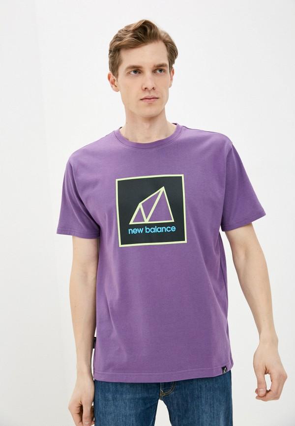 мужская спортивные футболка new balance, фиолетовая