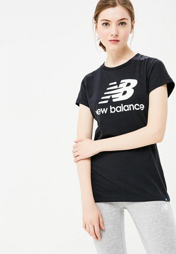 Купить Футболка New Balance, ESSENTIALS STACKED LOGO TEE, ne007ewbpxk7, черный, Осень-зима 2018/2019