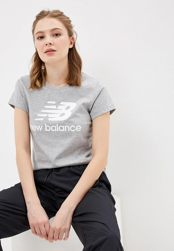Купить Футболка New Balance, ESSENTIALS STACKED LOGO TEE, ne007eweazi7, серый, Весна-лето 2019