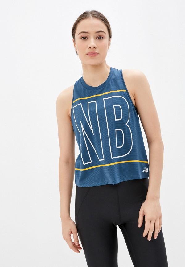 женская спортивные майка new balance, синяя