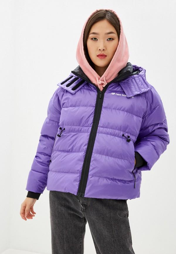 женский пуховик new balance, фиолетовый
