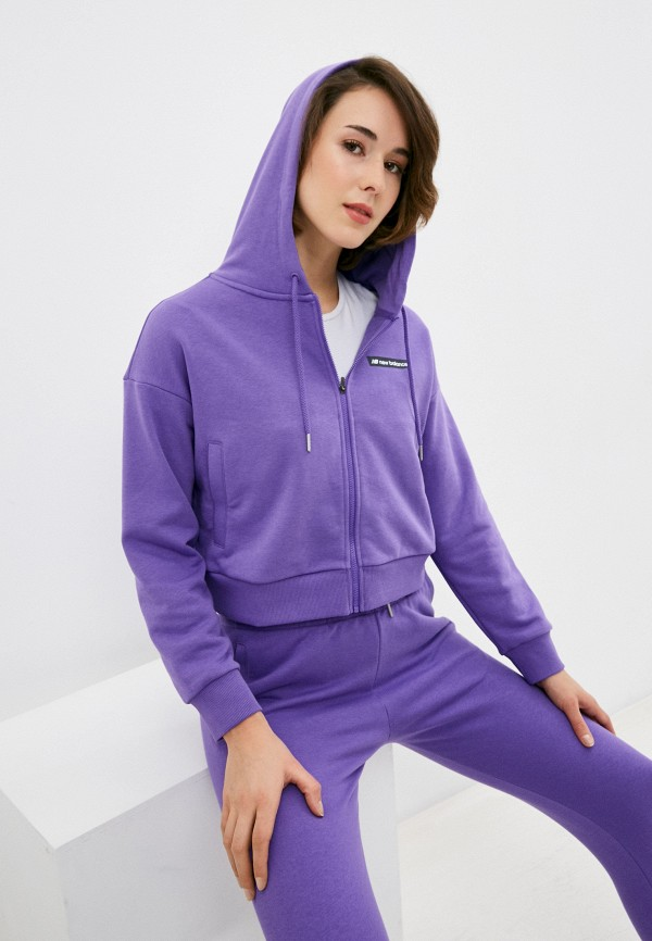 женская толстовка new balance, фиолетовая