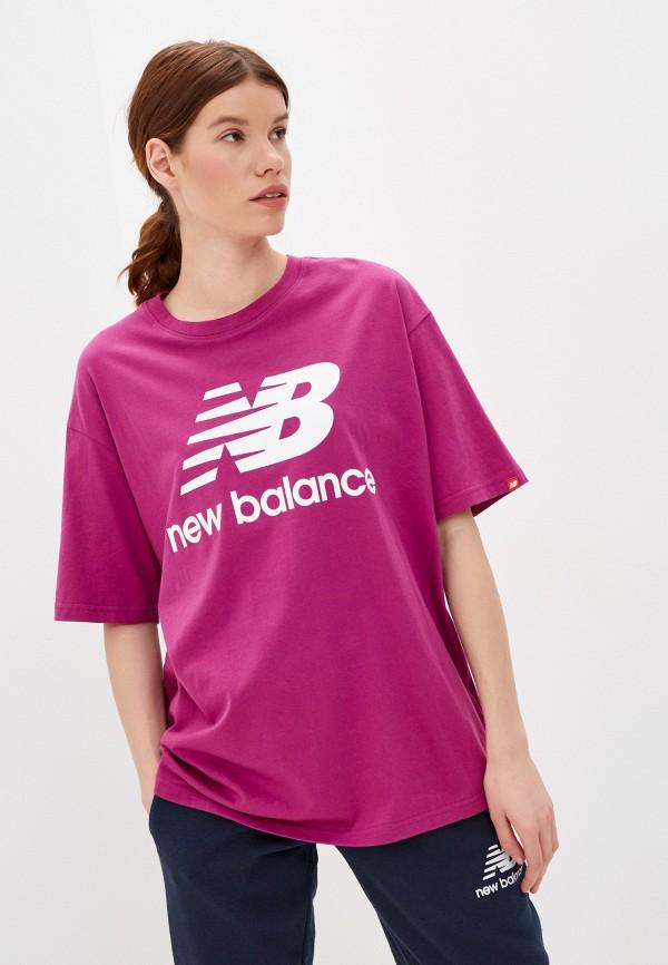 женская спортивные футболка new balance, розовая