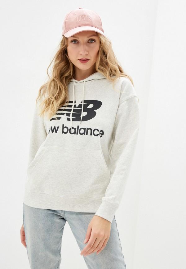 женские худи new balance, серые