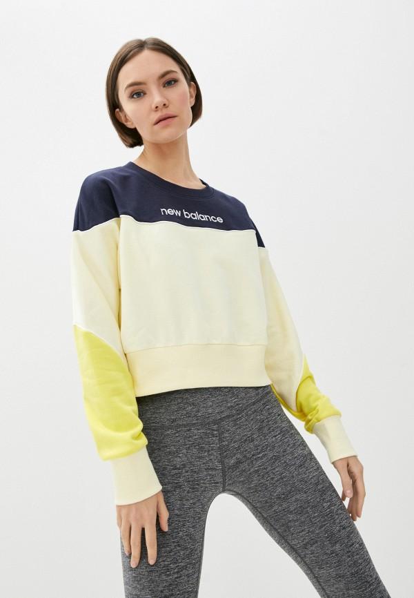 женский спортивные свитшот new balance, желтый