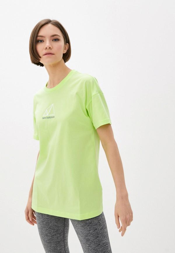 женская спортивные футболка new balance, зеленая