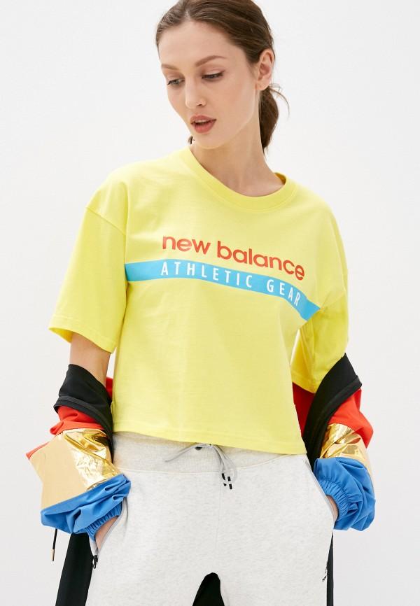 женская спортивные футболка new balance, желтая
