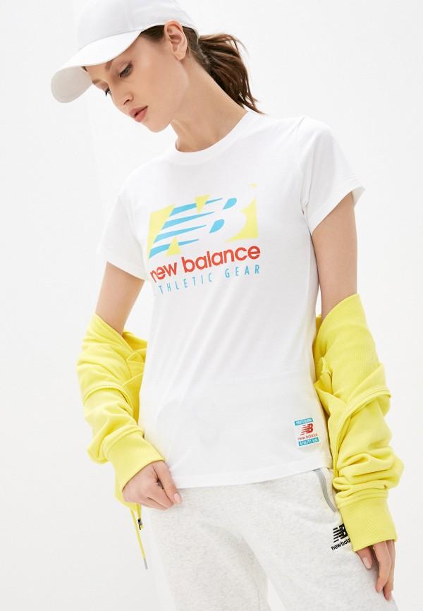 женская спортивные футболка new balance, белая