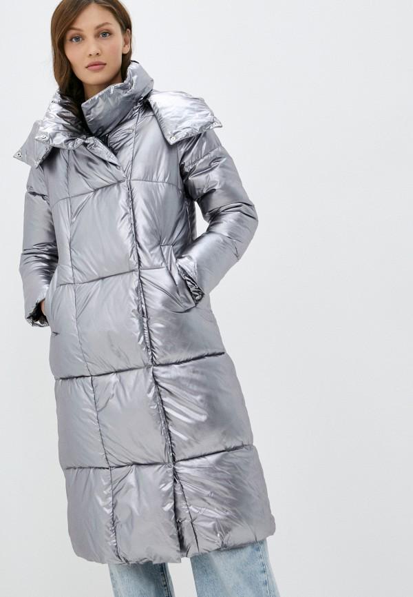 женская утепленные куртка nerouge, серебряная